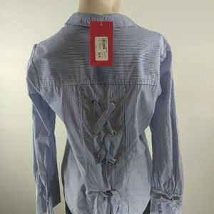 Sanctuary top tie back shirt blue striped small